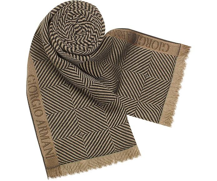Signature Checked Wool and Silk Long Scarf - Giorgio Armani