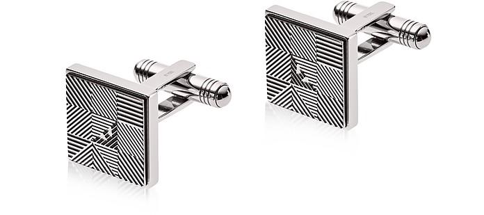 EGS2509040 Squared Stainless Steel Signature Men's Cufflink - Emporio Armani