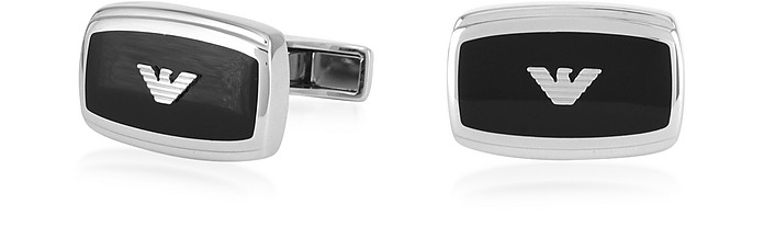 Stainless Steel and Enamel Signature Men's Cufflinks - Emporio Armani / エンポリオ アルマーニ