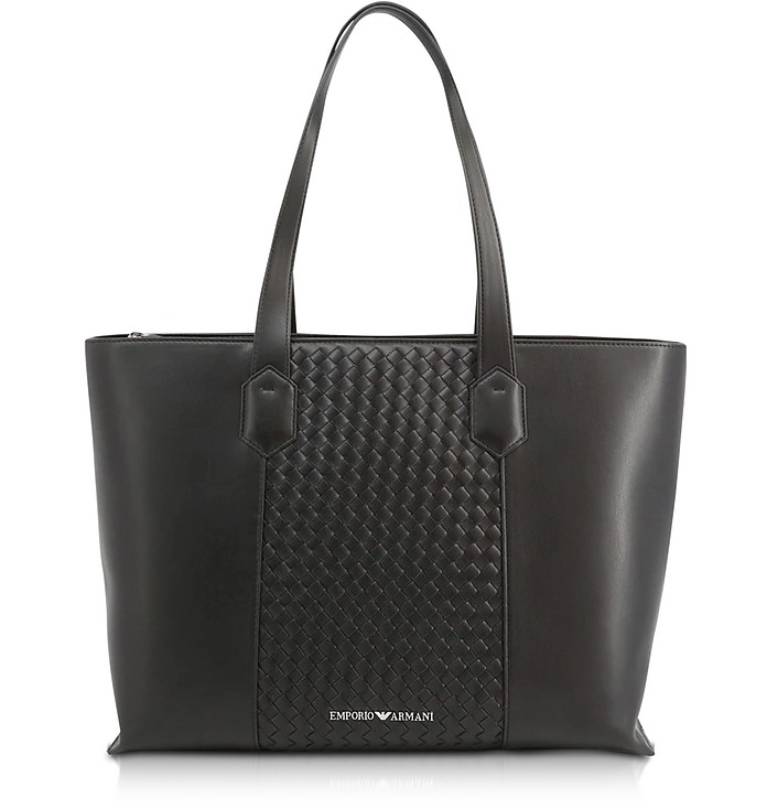 Black Woven Eco-Leather Tote Bag - Emporio Armani
