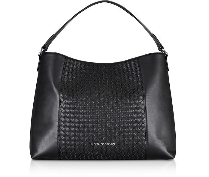 Black Woven Eco-Leather Shoulder Bag - Emporio Armani / エンポリオ アルマーニ