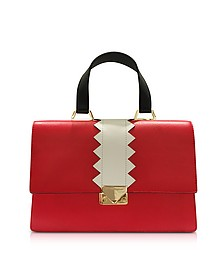 Red Smooth Leather Satchel Bag - Emporio Armani