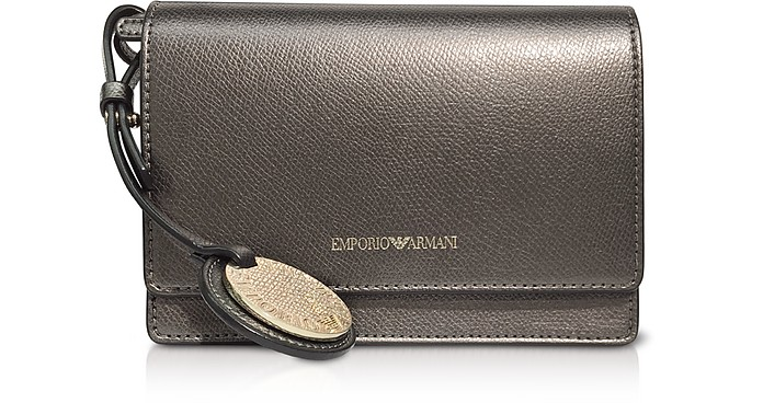 Lizard Embossed Leather Mini Shoulder Bag - Emporio Armani