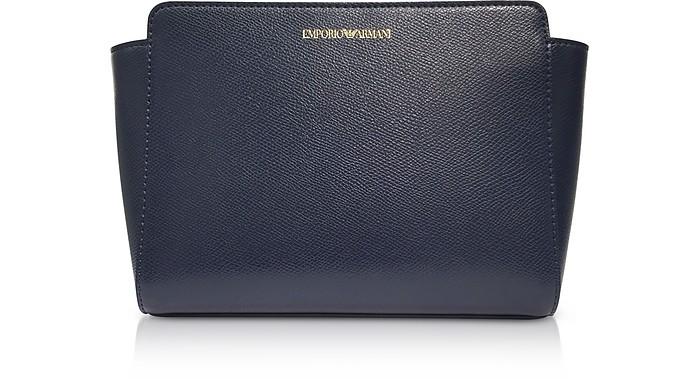 Deep Blue Lizard Print Shoulder Bag - Emporio Armani