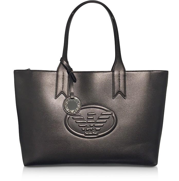 Dark Gray/Steel Embossed Logo Large Tote Bag - Emporio Armani