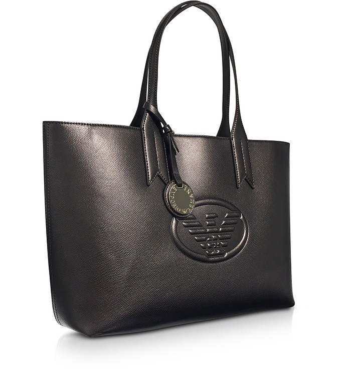 29a6e868dc52 Emporio Armani Dark Gray Steel Embossed Logo Large Tote Bag at FORZIERI