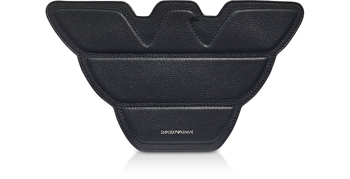 17b23e7dfe1f Emporio Armani Black Genuine Leather Eagle Shoulder Bag at FORZIERI UK