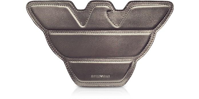 8cb6aaffa737 Emporio Armani Gunmetal Laminated Leather Eagle Shoulder Bag at FORZIERI