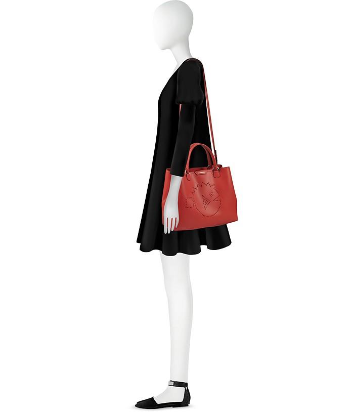 Shopping Armani Rosso Pelle Waterworld Cyber Traforato Emporio Logo con Bag in 5HznCqw