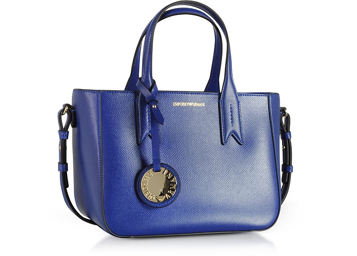 5677133df17d Twitter · Pinterest · Share on Tumblr. Electric Blue Embossed Eco Leather  Mini Tote Bag - Emporio Armani. Sold Out