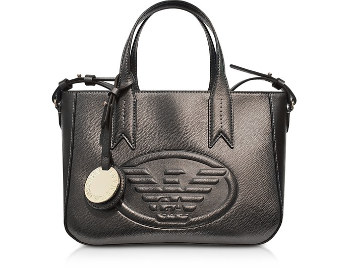 283c8b982a39 Emporio Armani Dark Gray Steel Embossed Eagle Small Tote Bag at FORZIERI