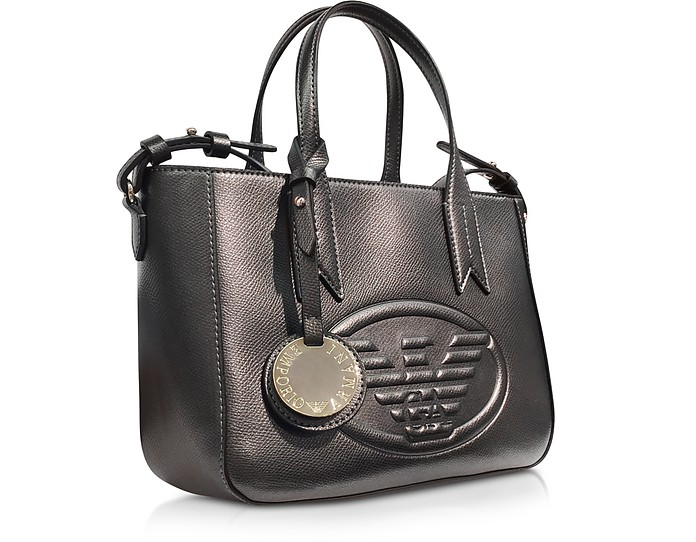 a0c18384576c Twitter · Pinterest · Share on Tumblr. Dark Gray Steel Embossed Eagle Small Tote  Bag - Emporio Armani