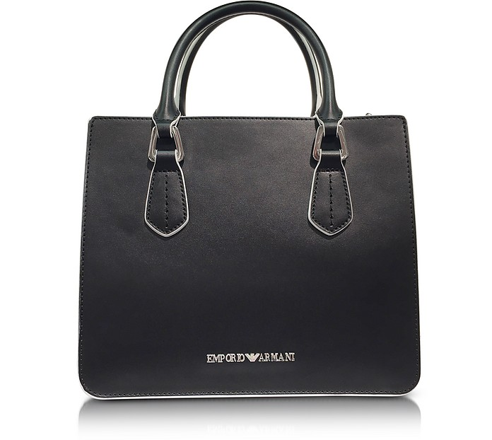 Black and White Top Handles Satchel Bag - Emporio Armani