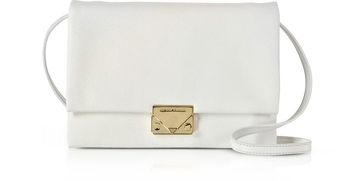 White Grainy Leather Clutch - Emporio Armani