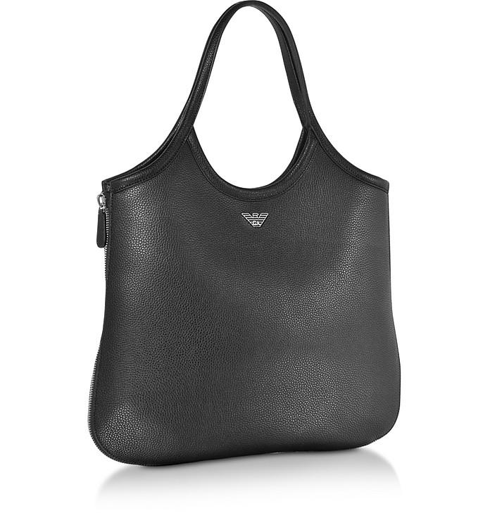 66964f8ed8 Emporio Armani Black Hammered Leather Hobo Bag at FORZIERI