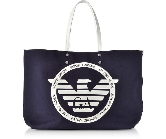Borsa Shopper in Tessuto con Logo - Emporio Armani