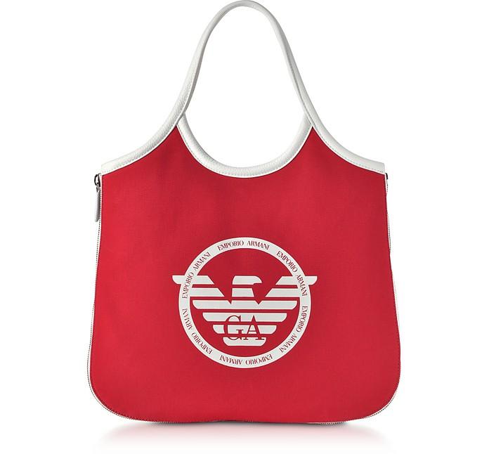 Hobo Borsa Shopper in Tessuto con Logo - Emporio Armani