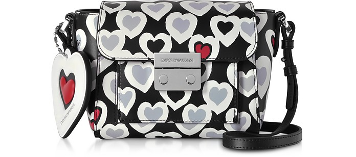 Small Heart Print Shoulder Bag - Emporio Armani