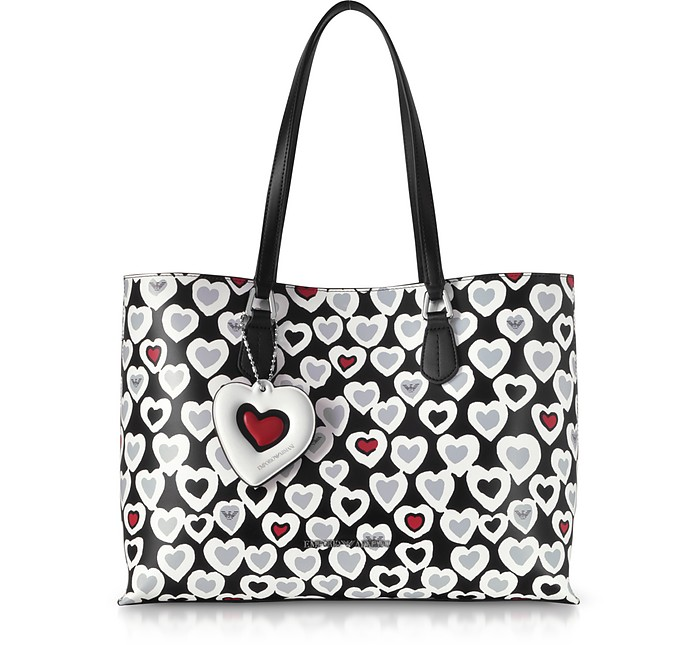 Heart Print Tote Bag - Emporio Armani