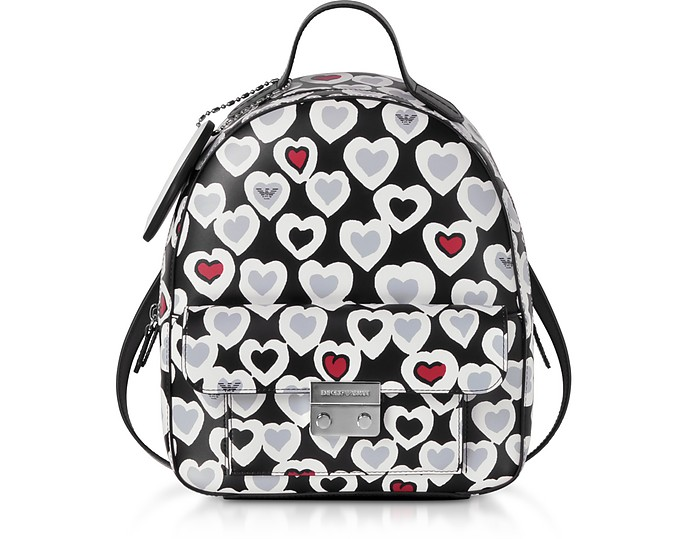 ac8b344b2f Emporio Armani Heart Print Medium Backpack at FORZIERI