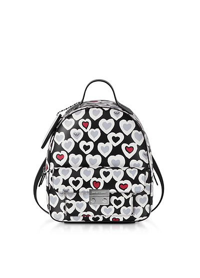 Heart Print Medium Backpack - Emporio Armani