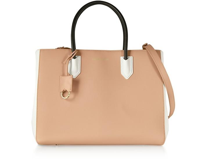 Color Block Medium Tote Bag w/Shoulder Strap - Emporio Armani