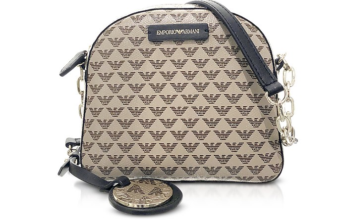 Allover Eagle Coated Canvas Shoulder Bag - Emporio Armani