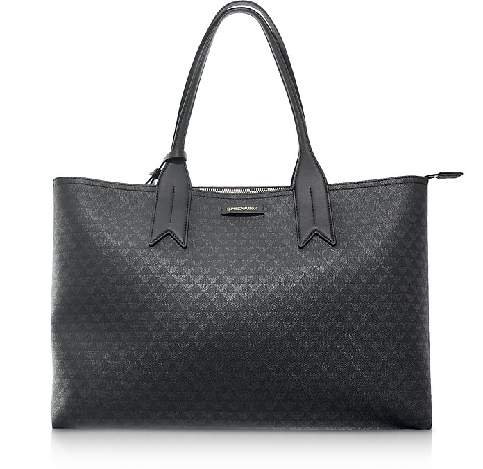 Black Eagle Print Tote Bag - Emporio Armani