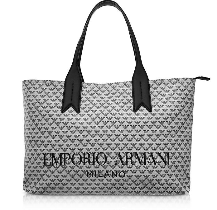 Ice and Black Eagle Print Tote Bag - Emporio Armani
