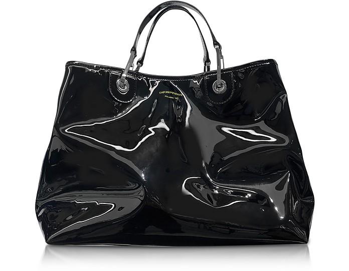 Black and Lime Vinyl Medium Tote Bag - Emporio Armani