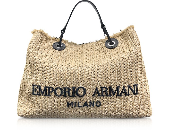 Straw Medium Tote Bag - Emporio Armani