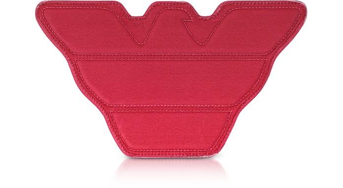 红色天鹅绒和黑皮革鹰手拿包 - Emporio Armani 安普里奥·阿玛尼