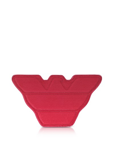 Red Velvet and Black Leather Eagle Clutch - Emporio Armani