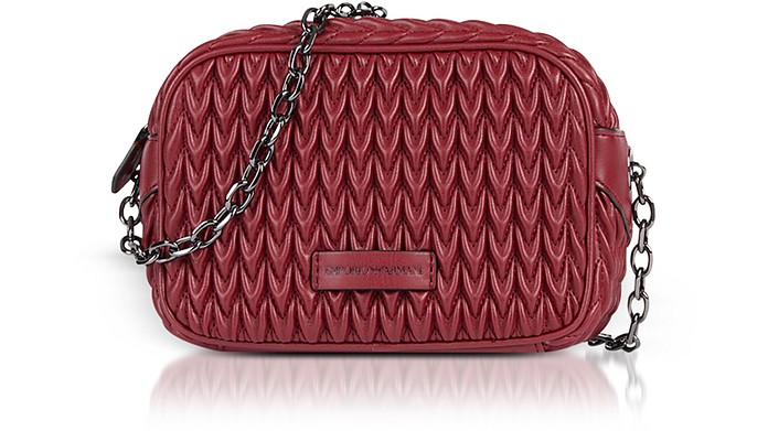 5ba880c1750 Emporio Armani Burgundy Quilted Eco-Leather Shoulder Bag at FORZIERI