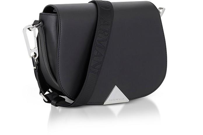 57caccfc41d4 Emporio Armani Black Leather Shoulder Bag w Signature Strap at ...