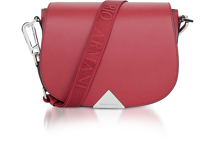 Leather Shoulder Bag w/Signature Strap - Emporio Armani