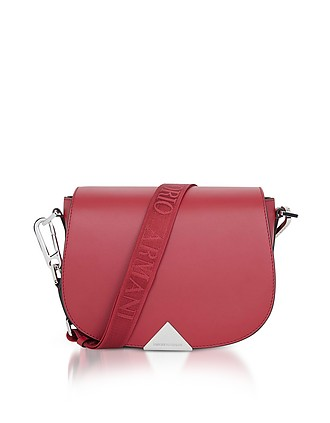 93a51c2d79f9 Leather Shoulder Bag w Signature Strap - Emporio Armani