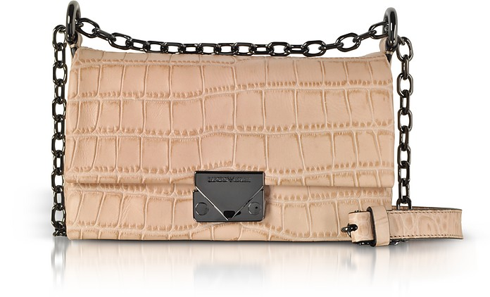 Croco-Embossed Leather Small Shoulder Bag - Emporio Armani