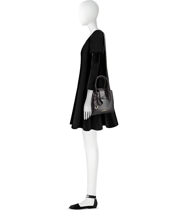 bd1f5ec4536d Emporio Armani Black Genuine Leather Satchel Bag at FORZIERI