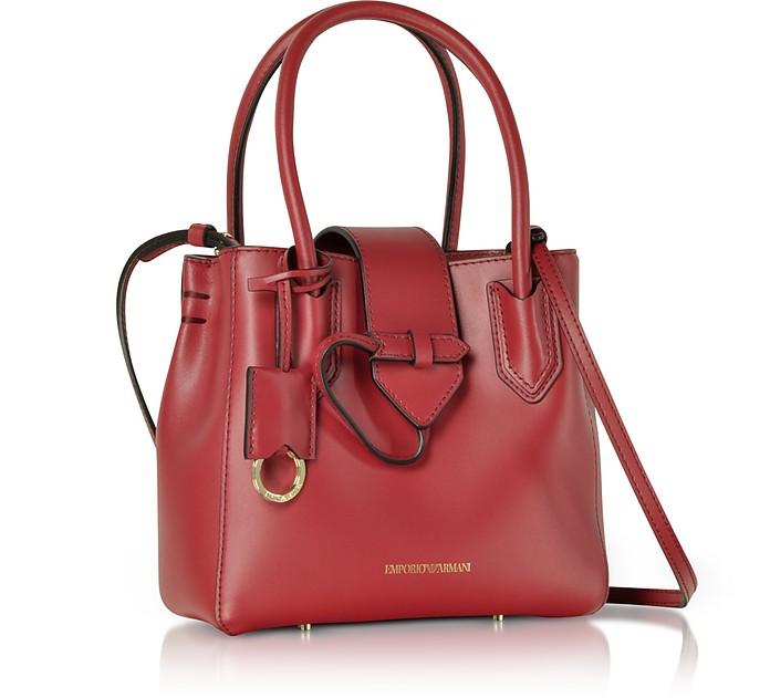 733a218ef66a Emporio Armani Burgundy Genuine Leather Satchel Bag at FORZIERI