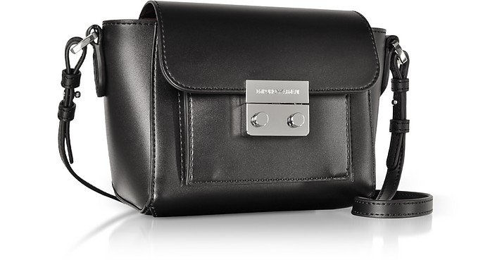 125b78d33a5 Emporio Armani Black Small Smooth Eco Leather Shoulder Bag at FORZIERI