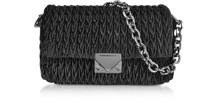 Quilted Velvet Top-Handle Shoulder Bag - Emporio Armani