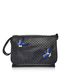 Black Embossed Leather Logo Messenger Bag - Emporio Armani
