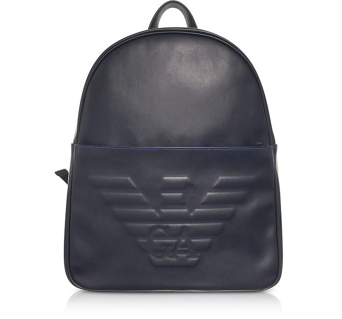Black Eagle Embossed Eco Leather Men's Backpack - Emporio Armani