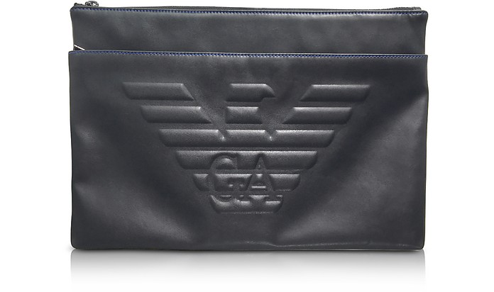 Black Eagle Embossed Eco Leather Men's Clutch - Emporio Armani