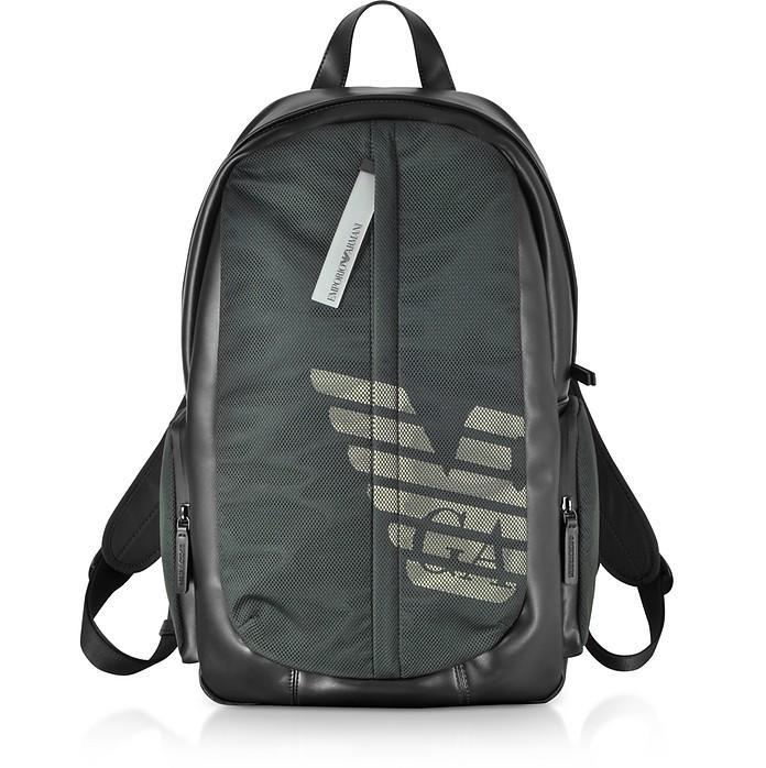 Mesh and Nylon Logo Print Men's Backpack - Emporio Armani