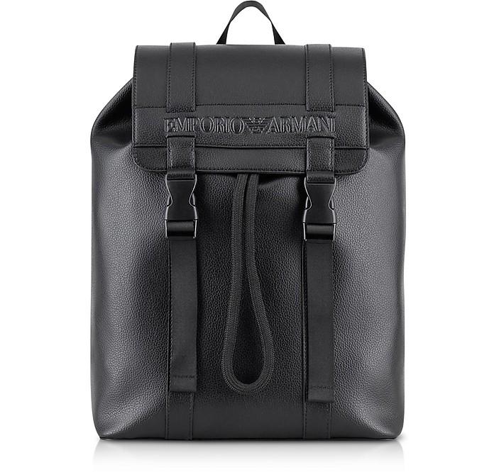 Black Pebble Signature Backpack - Emporio Armani