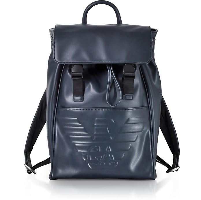 82b85c876b68 Emporio Armani Navy Blue Embossed Eagle Backpack at FORZIERI