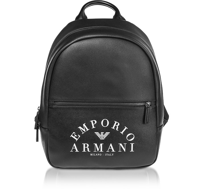 Black Signature Printed Backpack - Emporio Armani