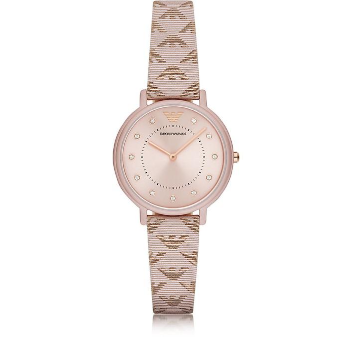 Kappa Stainless Steel Women's Quartz Watch w/Signature Leather Strap - Emporio Armani